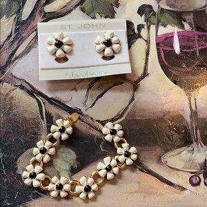 ST. JOHN Daisy Bracelet & Clip Earring Set